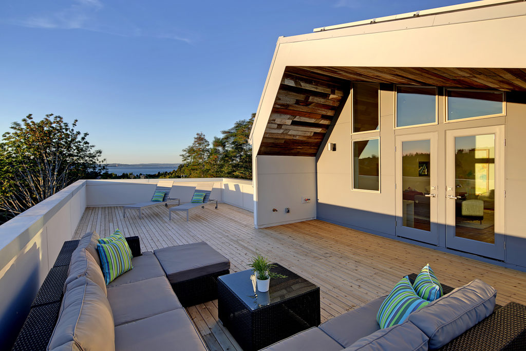 deck for entertaining in Seattle flooring made from recycled materials