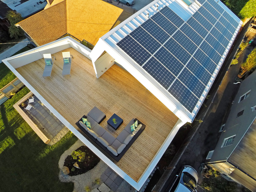 Arial view of top deck solar panel